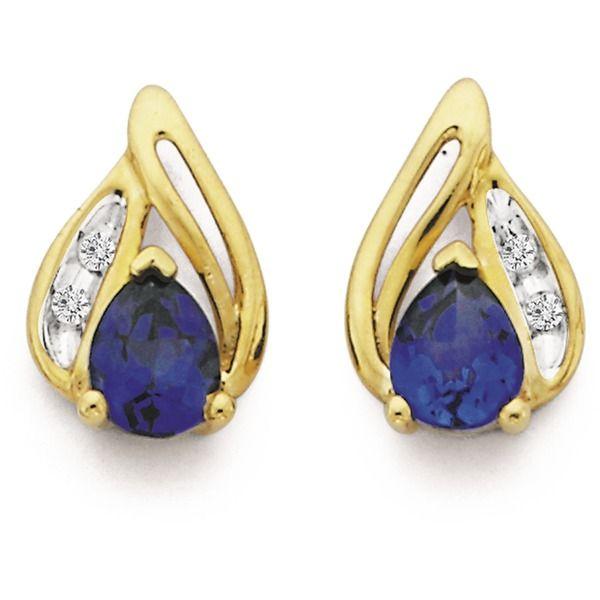 9ct Gold Created Sapphire & Diamond Pear Cut Earrings