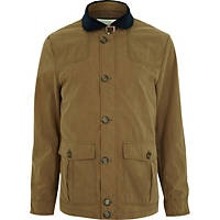 Stone contrasting shawl collar jacket from River Island