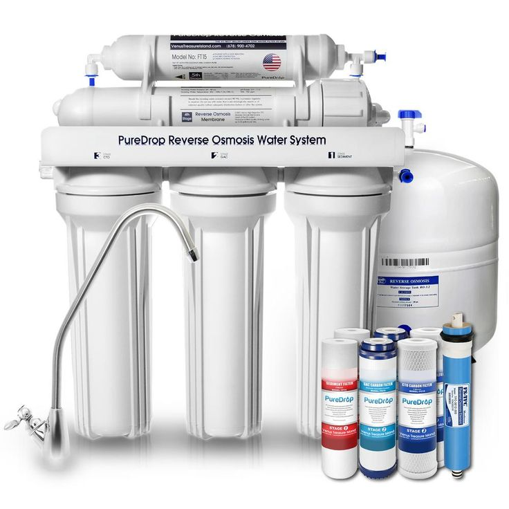 5 Stage Reverse Osmosis Water Filtration System with Pre-Filter Kit, White