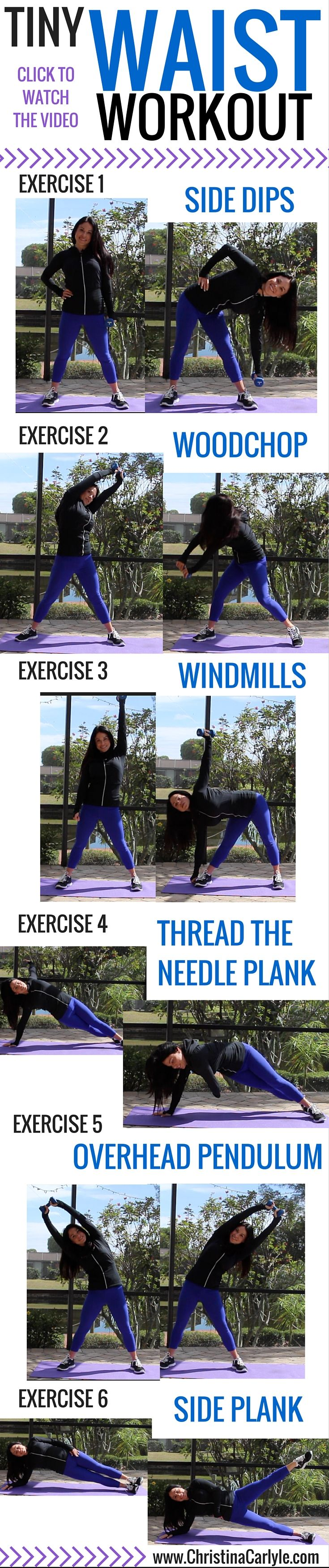 These Oblique Exercises help burn belly fat.  You can do these ab exercises at home for a complete ab workout that will help you get a smaller waist.