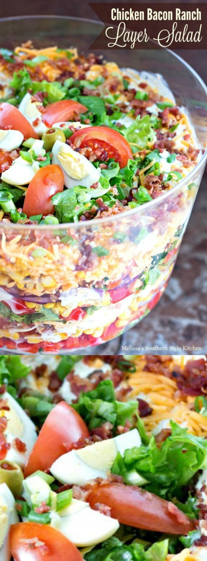 Chicken Bacon Ranch Layer Salad | Melissa's Southern Style Kitchen