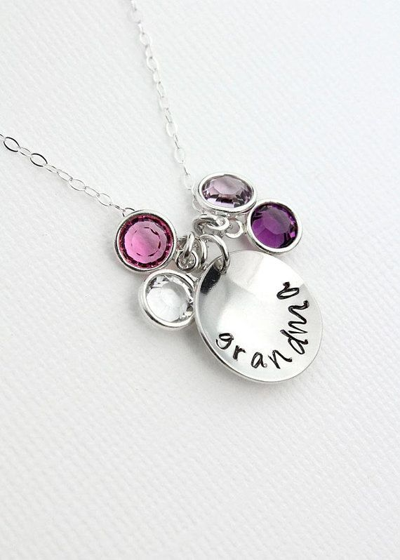 New! Grandmother Necklace, Silver Disc Birthstone Crystal Pendant Necklace, Choice of Inscription Birthday Gift for Nana