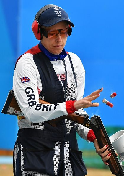 #RIO2016 Great Britain's Elena Allen competes during the qualifications Skeet Women's final at the Olympic Shooting Centre in Rio de Janeiro on August 12...
