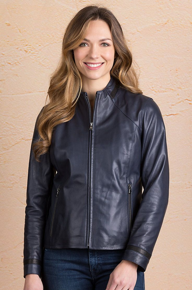 The alluring essence of moto design adds street cred to the Audie Lambskin Leather Jacket.