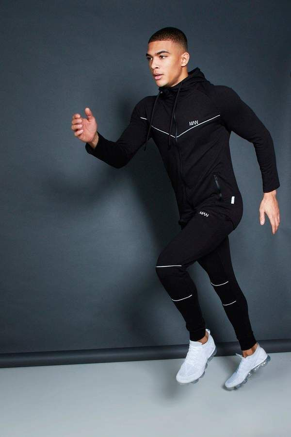 261b6604c9 boohoo Active Zip Through Hooded Skinny Tracksuit | Mens activewear ...