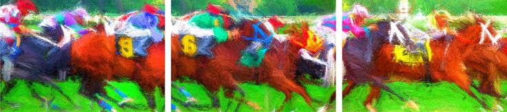 The Race is On! The entire triptych collection at a special price. You're buying a triptych of our three related horse racing prints at a special price of $59.99. These bright fine art print will look great in any room and in any house. If you're like me and a Kentucky Derby lover or just someone who loves horses, pick this up, today. Printed on Aurora Fine Art paper, size 13x19 and ready to be matted and framed. This piece is based on an original photo was by Paul Kehrer.