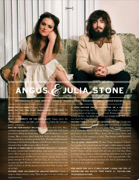 Angus & Julia Stone. Music is awesome and I'm kind of in love with her.