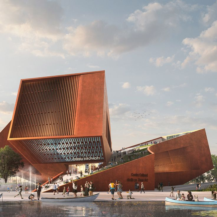 UNStudio has won a contest for a new cinema and cultural centre with weathering steel walls and green roofs as part of BIG's EruopaCity masterplan in Paris.