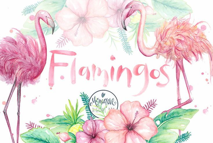 Clipart Flamingo watercolor, flamingo invitation,party,birthday,printable,instant download,planner stickers,palm leaf,hibiscus,cute flamingo by MoniqueDigitalArt on Etsy