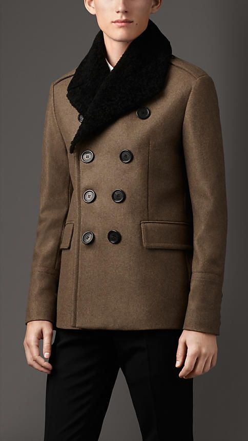 b53d226807d5 Burberry London Shearling Topcollar Wool Blend Pea Coat   Winter Wardrobe    Mens wool coats, Mens fashion, Coat