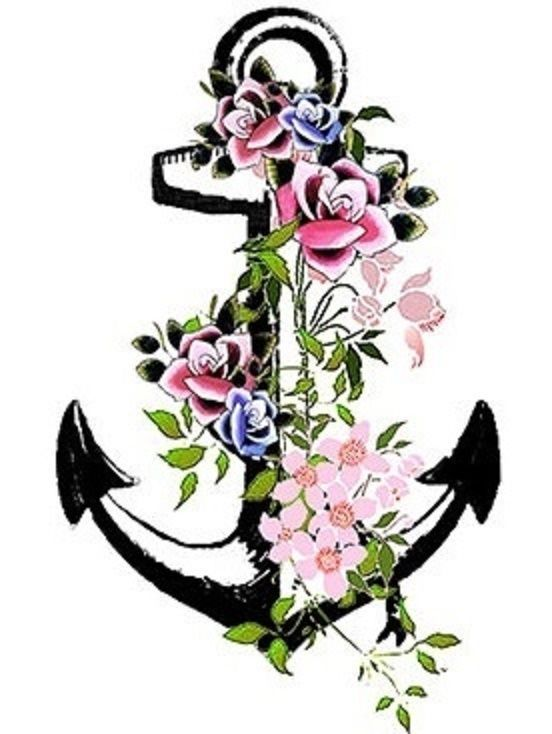 SHIP FROM NY - Temporary Tattoo - Set of 2 Flower Anchor / Wrist tattoo