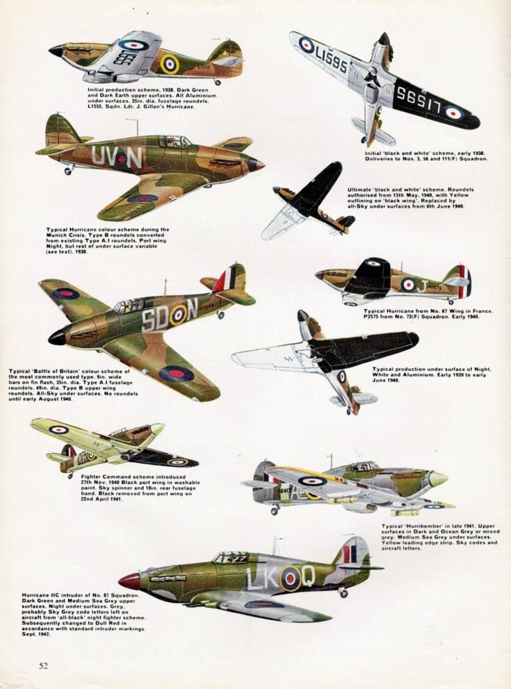 Camouflage Profiles Spitfire Liberator Mustang Hurricane