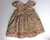 baby girls dress, 6 - 9 months, baby clothes, childrens clothes, floral dress, baby dress, girls clothes, toddler dress, UK seller, ooak