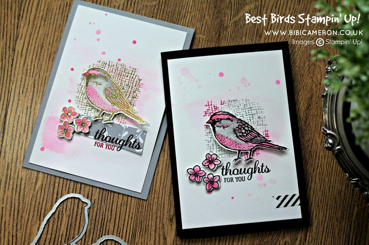 Cards made using the Stampin Up Best Birds Stamp Set and Birds and Blooms Thinlits Dies
