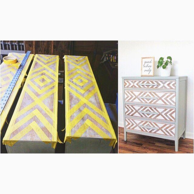 "Our most popular Pinterest pins are of the ""southwestern"" dresser we did almost a year ago. That makes up for the hours of taping the fronts...😆 #moderndresser #southwestern #tribal #frogtape #emandwit"