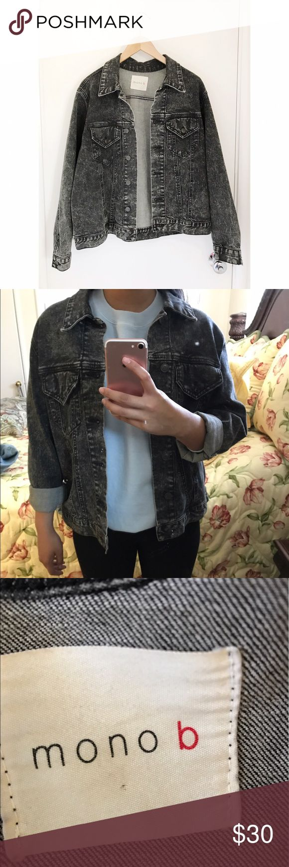 "Washed black oversized denim jacket Super cute washed black denim jacket . Brand is called mono b . Size unknown but it fit's like a women's large so it's the perfect oversized jacket . Measurements: pit to pit - 22.5"", length - 23.5"" . In perfect condition . Urban Outfitters Jackets & Coats Jean Jackets"