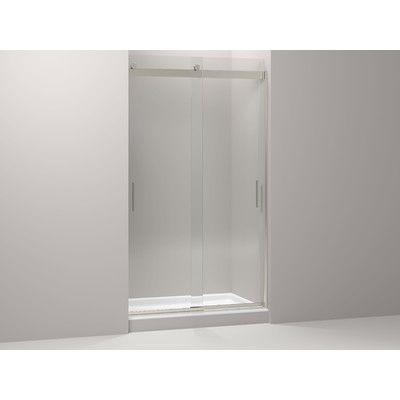 "Kohler Levity 47.63"" x 82"" Double Sliding Shower Door with Blade Handles Finish: Brushed Nickel"