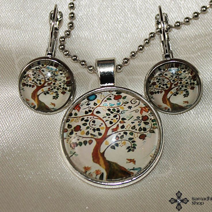 Tree Of Life Glass Pendant Necklace   Glass Earrings