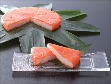 ます(鱒)寿し Trout Shshi - Type of Oshizushi (pressed sushi). Trout is marinated in salt and vinegar, then pressed onto sushi rice.