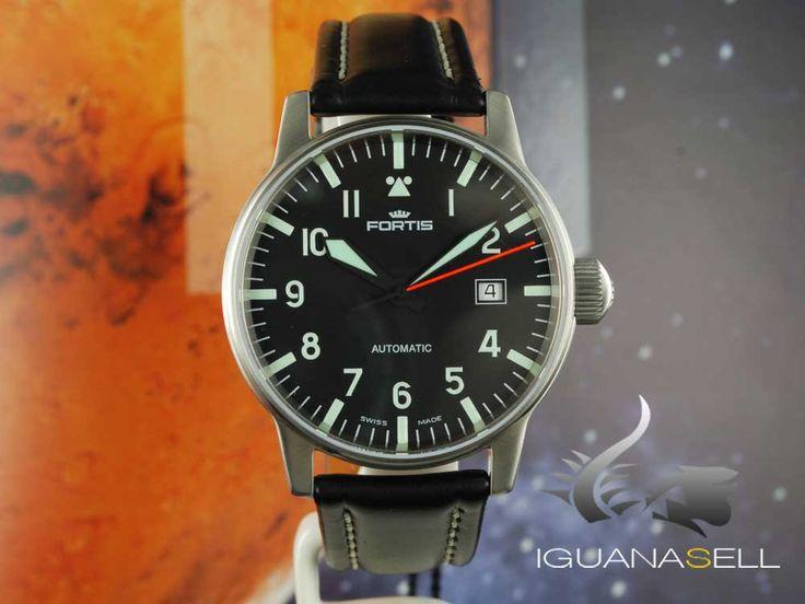 Fortis Flieger Classic Automatic Watch, Buckle, ETA 2824-2, Black, Lea   Iguana Sell