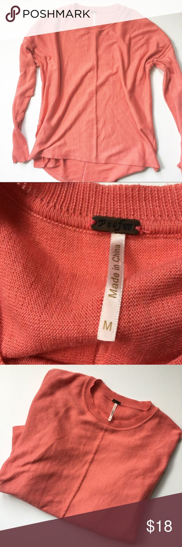 POOF (Nordstrom rack ) | pink high low sweater ◾️EUC ◾️ships in 24 hours  ◾️no trades ◾️make me an offer 🌸 Nordstrom Sweaters Crew & Scoop Necks