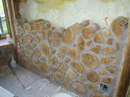 Logs and mortar wall