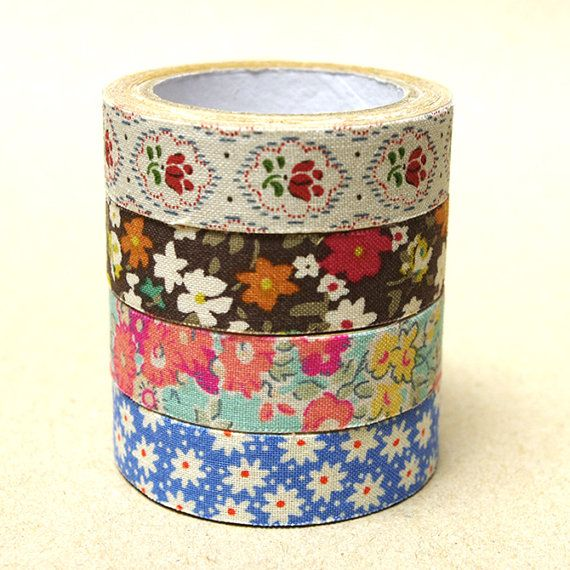 La Couture Fabric Masking Tape  Cotton Flowers by craftyjapan, $8.00