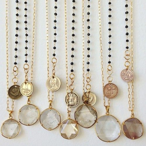 Tibetan quartz and vintage coin necklaces.