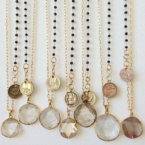 Tibetan quartz and vintage coin necklaces.