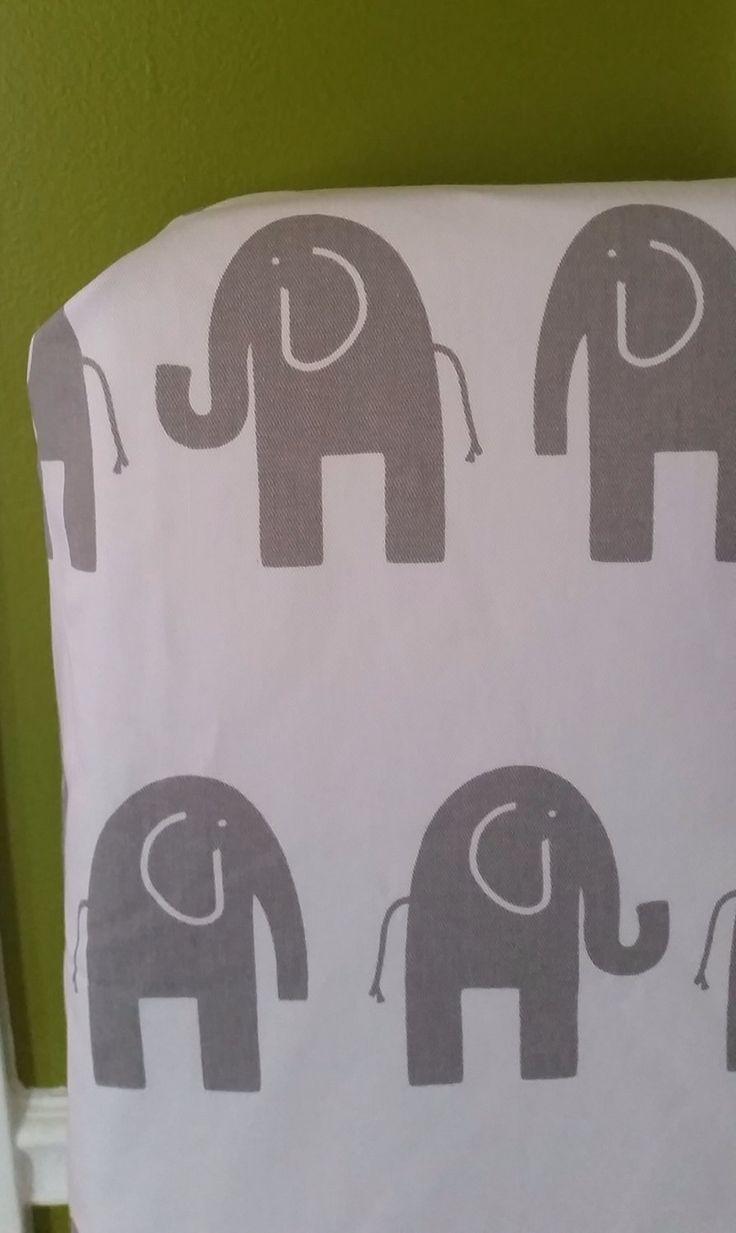 Custom white and grey elle elephant fabric crib sheet for Grey nursery fabric