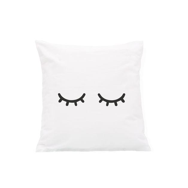 Kissenbezug  Motiv / Müde Augen / Schwarz  Diese süßen Kissen machen jedes Bett oder Sofa zum Wohlfühlort und eignen sich wunderbar, um der Einrichtung den letzten schönen Schliff zu...