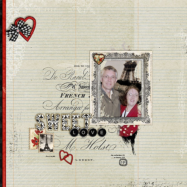 Digital layout by Iowan on Jessica Sprague using Jodie Lee 'Ooh La La' Kit, and 'Vintage Brush Club #4'.