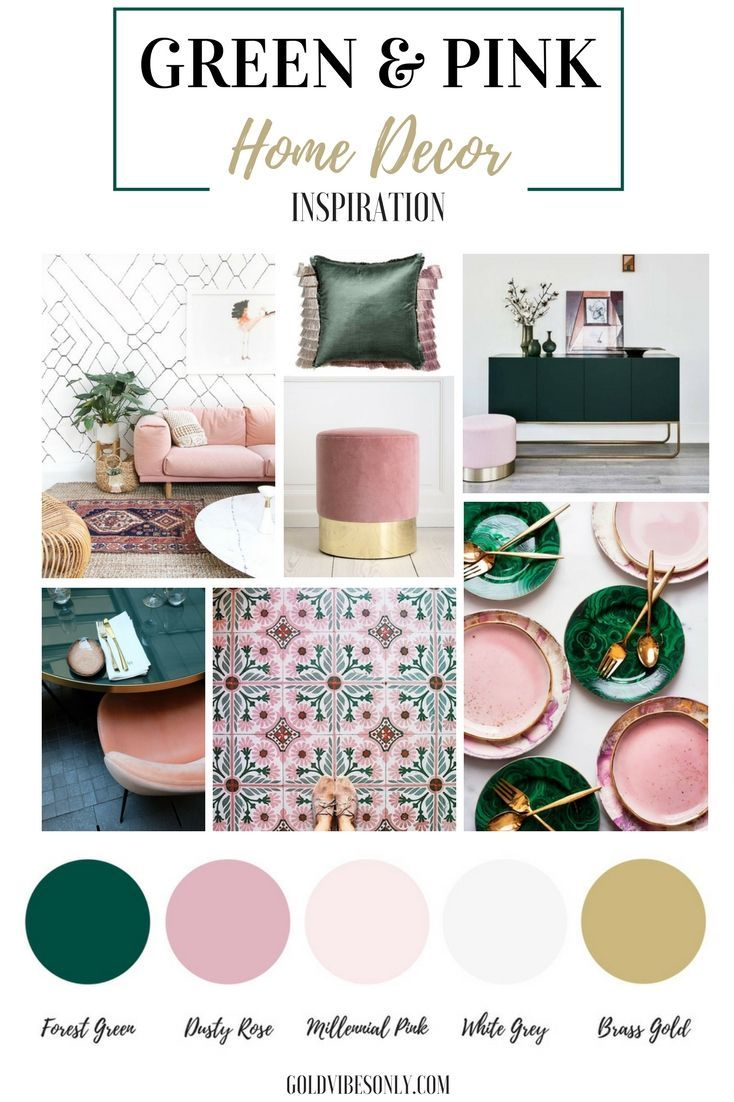 Green and pink interiors and home decor inspiration. How to create the look, trend alert, the new classic colour combination. Brass gold accents.