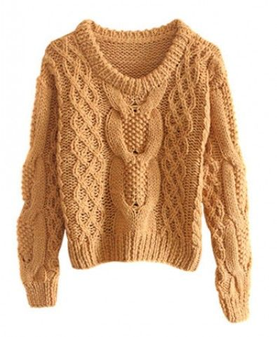 Round Neckline Manual Cable Knitting Pullover - Knitwear - Clothing