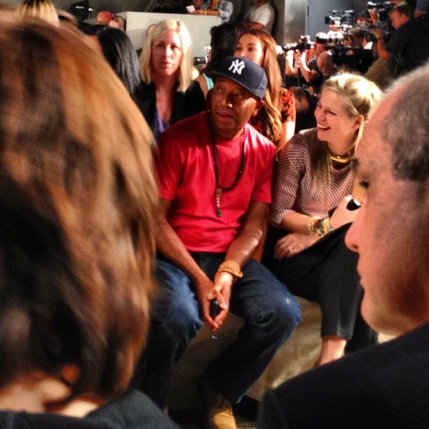 Russell Simmons enjoying himself at Donna Karan. Photo by the WSJ's Christina Binkley. #nyfw