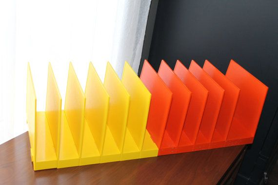 Mod Desk Organizer Orange Yellow File Holders Vintage Office Supplies Mid Century Modern Desktop Storage Mad Men Home Office Space Savers