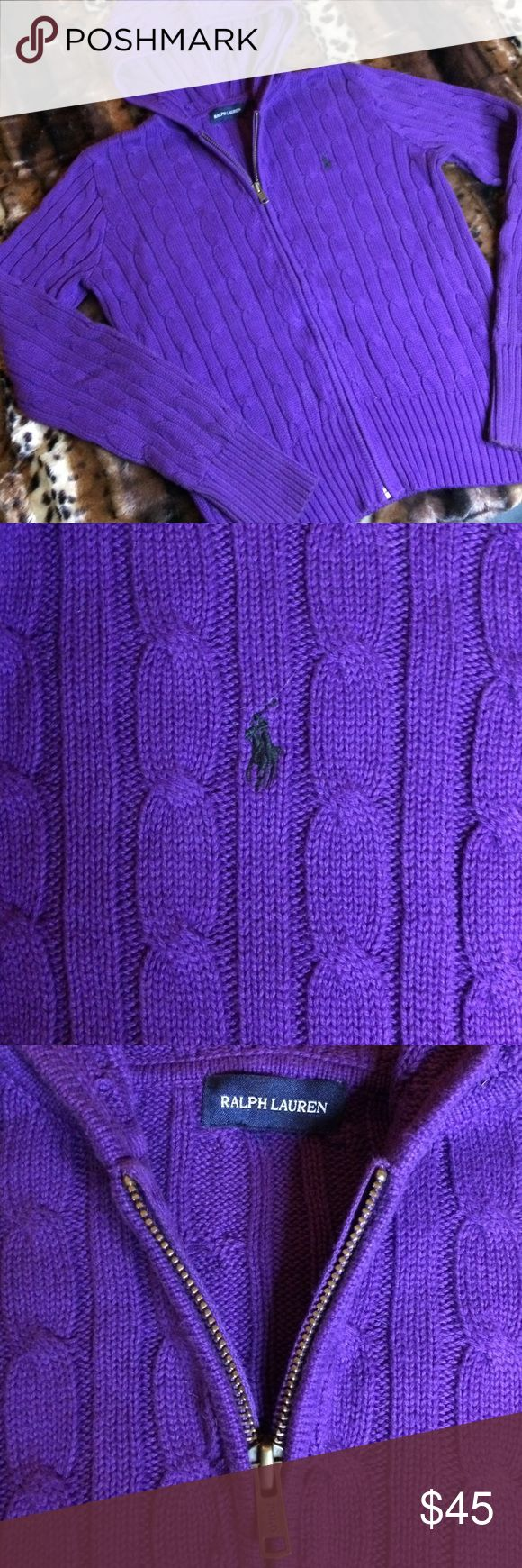 BNWOT Ralph Lauren Kids Classic Cable Knit Zip Up BNWOT Classic Ralph Lauren Cotton Cable Knit Hooded Zip up Sweater in purple with contrasting green polo horse detail.  Polo stamp on zipper.  In PERFECT CONDITION!!! SIZE XL.  Could fit women's sizes XS-S. Ralph Lauren Shirts & Tops Sweaters