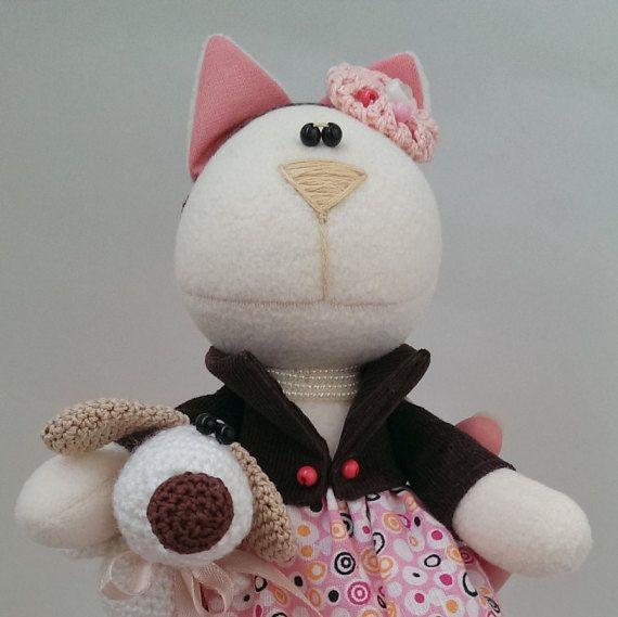 Мягкая игрушка. Кошка и собака. Cat and dog. от KotOmkaRU на Etsy