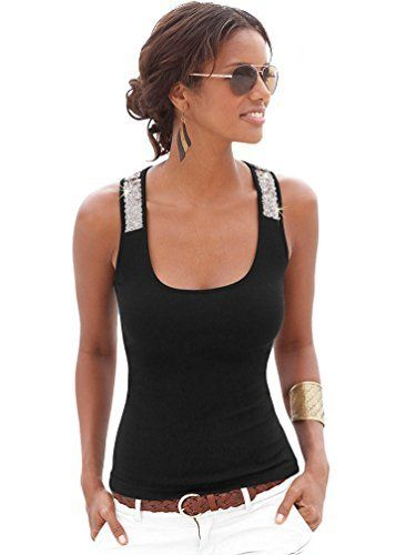 ZKOO Femmes Débardeur à Paillettes Été sans Manches Slim Fit T-shirt Haut Tops Débardeur Décontracté: Notre taille est différente de la…