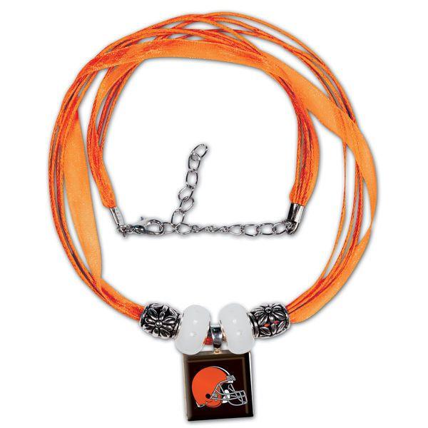Cleveland Browns Historic Logo Women's LifeTiles Ribbon Bead Necklace - Orange
