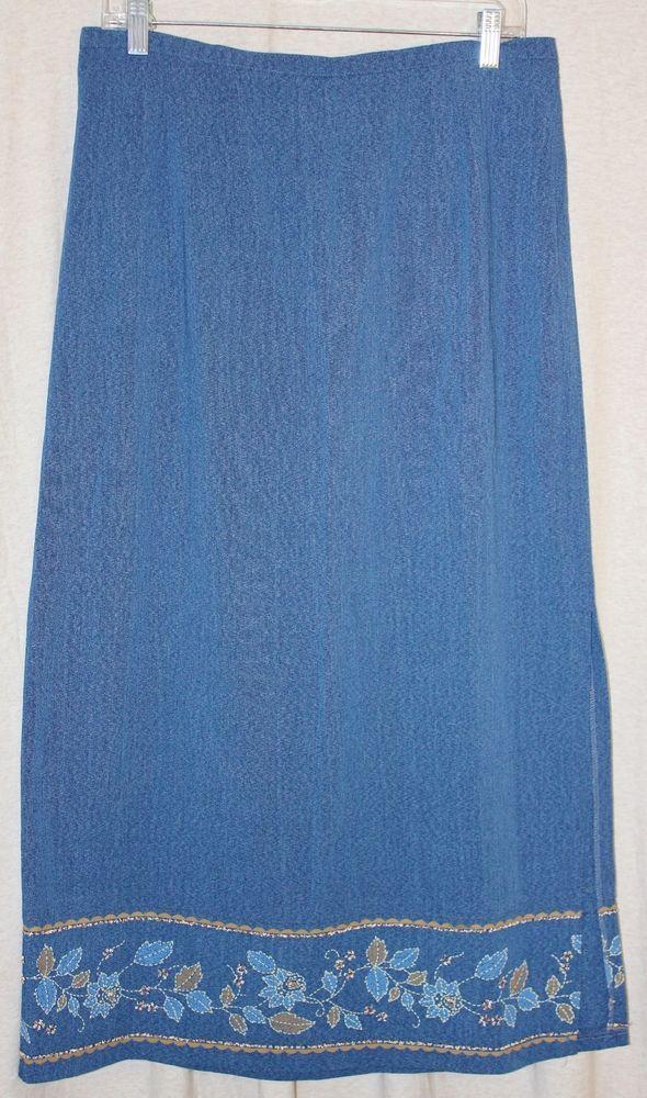 Alfred Dunn Womens Maxi Skirt 16 Modest Denim Blue Embroidered Hem Made in USA #AlfredDunner #Maxi