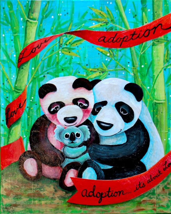 Pandas adopt a Koala...original collage/mixed media. I do have prints for sale as well. Let me know if you are interested. **I am able to create custom art for bigger families if anyone is interested.  Thanks Tiffany Cunliffe!