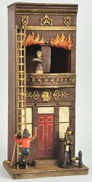 """Cast Iron & Wood Carpenter Burning Building Toy, Marked """"Patented 1882"""" on base, Made in America"""