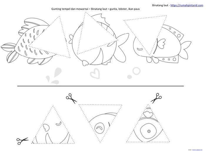Bentuk Geometri Dasar Untuk Anak Anak Dan Hewan Laut Dengan