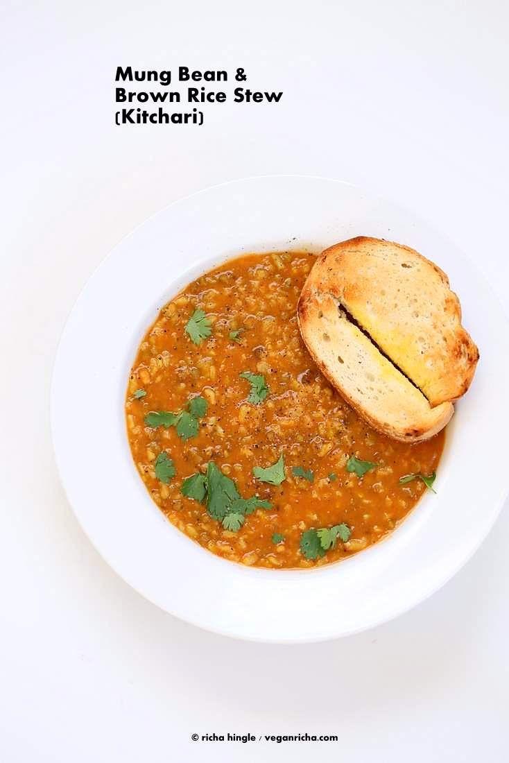 Brown Rice Mung Bean Kitchari - Mung Bean Stew - Vegan Richa