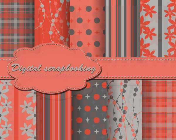 Set Of Floral Fabric Background - FREE