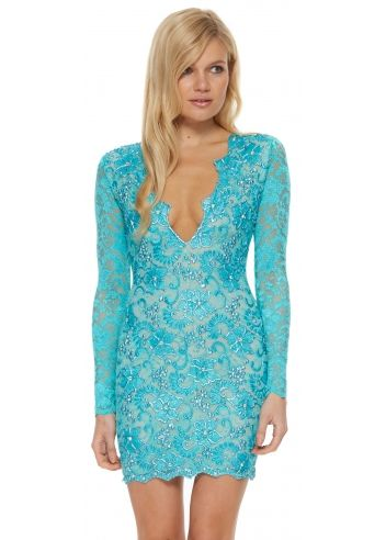 Holt eli dress in turquoise from designer desirables for Holt couture dresses