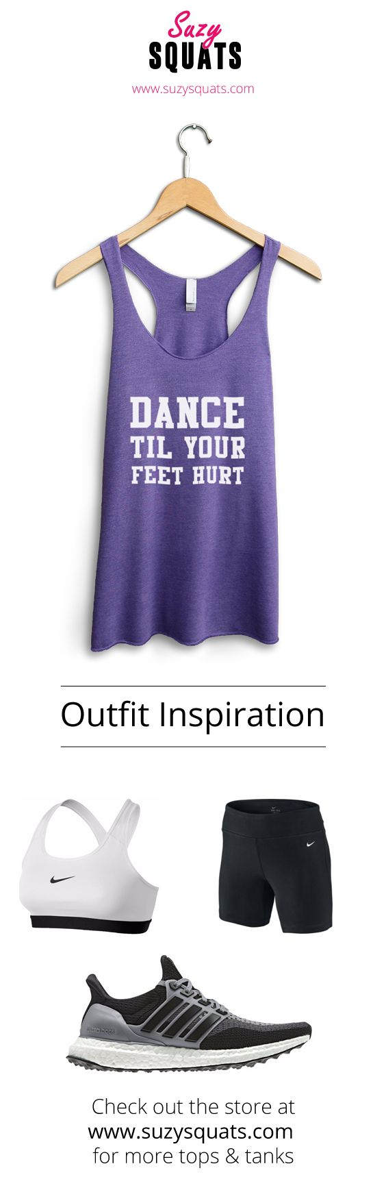 Suzy Squats funny dancing tank top, perfect to wear during your next dance practice or as a gift for a dancer friend! You can find more funny workout clothing for the dance hall at the Suzy Squats store by clicking the link above. Dancer Outfit | Dancing Gifts | Workout Outfit | Fitness Women | DancingSuzy | SuzyOutfitInspiration
