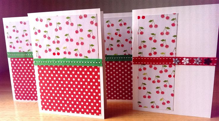 4 handmade cards, pack of 4 blank note cards, glittery papers, cherries and dots, blank cards by SilverpressShop on Etsy