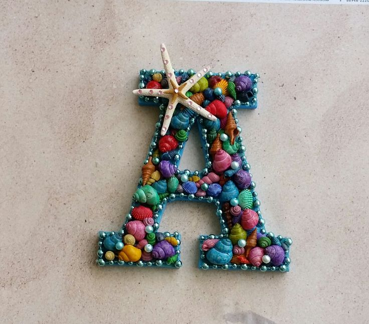 """Letter """"A"""" Colored Shell Initial, Sea Shell covered letter. Mermaid room. by SandyToeshomedecor on Etsy"""